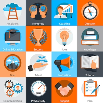 Flat design concept elements for mentoring and coaching skills development set isolated vector illustration