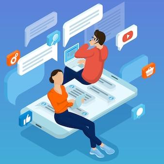 モバイルソーシャルネットワーク接続のフラットなデザインコンセプトメールマーケティングの人々がソーシャルネットワークのコメントをする若者と証言のコンセプトをチャット