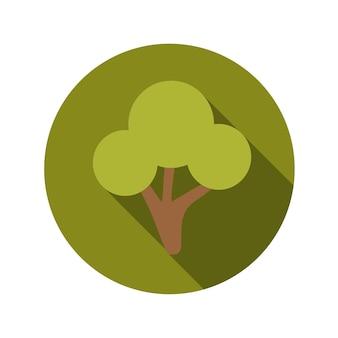 긴 그림자와 평면 디자인 개념 녹색 나무 벡터 일러스트 레이 션. eps10
