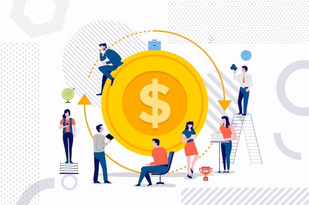 투자 수익에 대한 더 나은 솔루션을 작동하는 사업가의 평면 디자인 컨셉 그룹