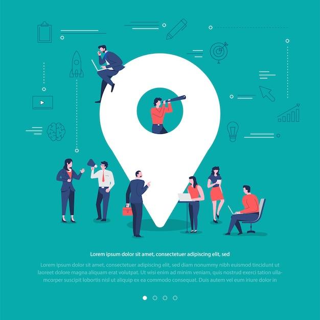 Плоская концепция дизайна группа людей работает вместе, строя социальную сеть символ местоположения регистрации