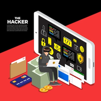 Flat design concept hacker activity cyber thief on internet device.