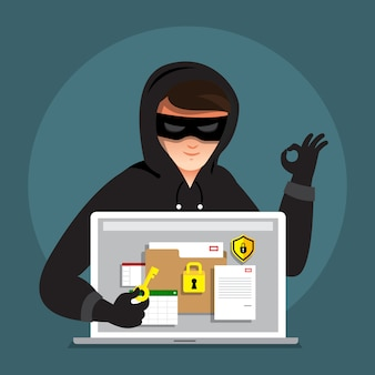 Плоский дизайн концепции хакерской деятельности кибер-вор на интернет-устройстве. иллюстрировать.