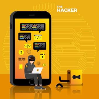 인터넷 장치에 평면 디자인 개념 해커 활동 사이버 도둑. 설명하십시오.