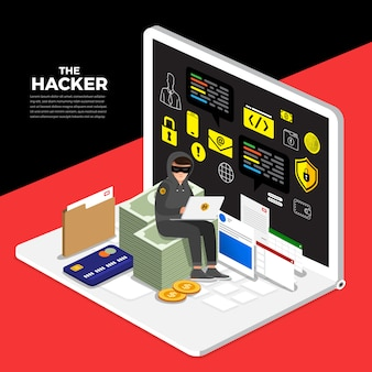 Flat design concept hacker activity cyber thief