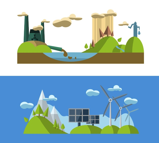 Flat design concept illustration with icons of ecology environment green energy and pollution