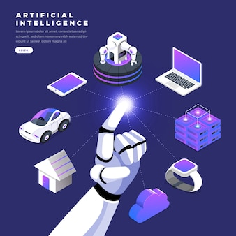 Flat design concept isometric artificial intelligence