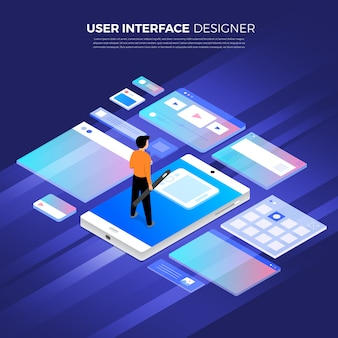 Flat design concept isometric user interface design