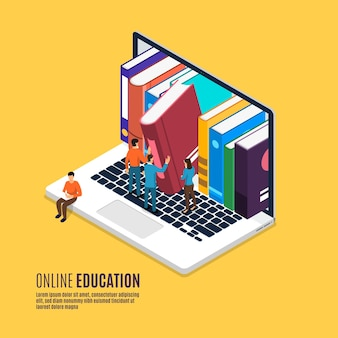 Flat design concept on line educations present with icons and element of e-learning