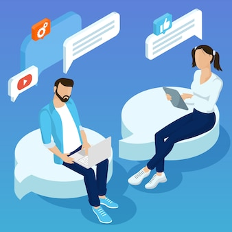 Flat design concept for mobile social network connections email marketing people chatting testimonials concept with  young  people making social network comments