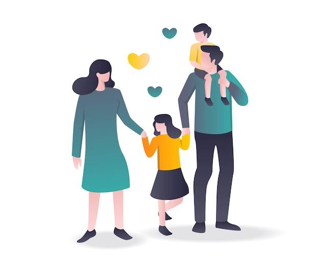 Плоский дизайн концепции мать и отец и двое детей в одной семье