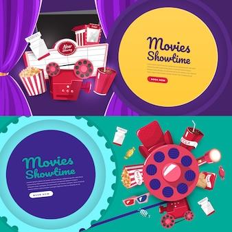 Плоский дизайн концепции кинотеатр время шоу и театр