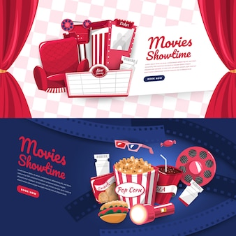 Flat design concept movie cinema show time and theater