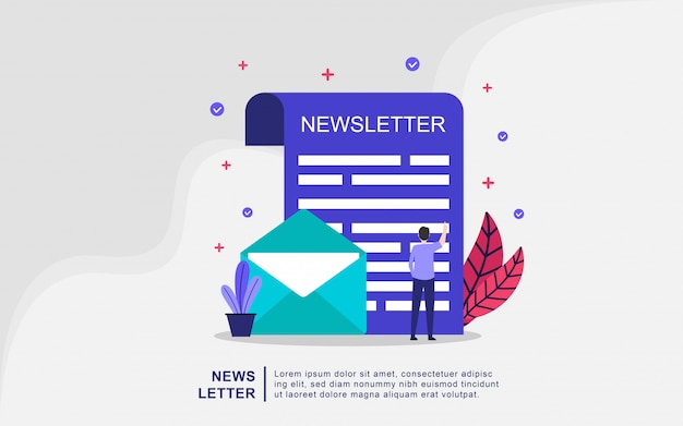 Flat design concept of newsletter vector illustration
