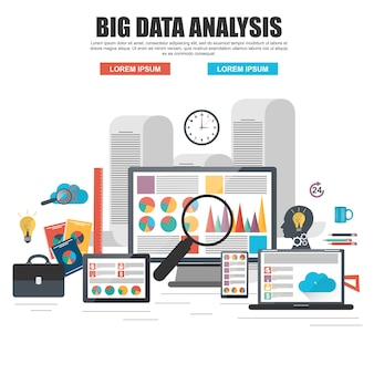 Flat design concept of business big data analysis, global analytics, financial research re