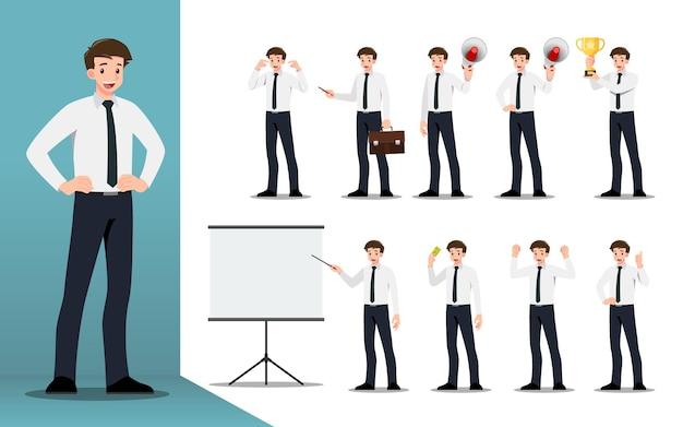 다른 포즈, 작업 및 프로세스 제스처, 작업 및 포즈를 제시하는 사업가의 평면 디자인 컨셉. 만화 캐릭터 디자인 모음.