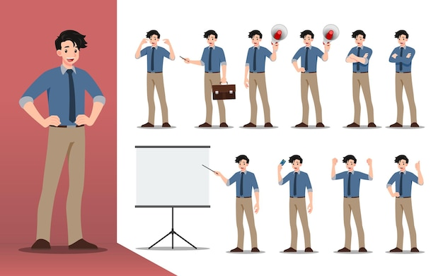 다른 포즈, 작업 및 프로세스 제스처, 작업 및 포즈, 만화 캐릭터 디자인 모음을 제시하는 사업가의 평면 디자인 컨셉.