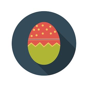 긴 그림자와 함께 부활절 달걀 벡터 일러스트 레이 션의 평면 디자인 개념. eps10