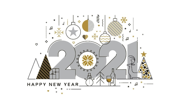 행복 한 새 해 2021 인사말 카드, 유행 하 고 최소한의 카드 또는 배경의 평면 디자인 개념. 현대 얇은 라인 디자인.