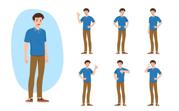 プロセスのジェスチャーやアクションを提示する、さまざまなポーズの男のフラットなデザインコンセプト。ベクトル漫画のキャラクターデザインセット。
