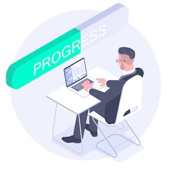 Плоский дизайн-концепция индикатора выполнения рабочего процесса приложения и программы. сотрудник, глядя на монитор компьютера в течение рабочего дня в офисе.