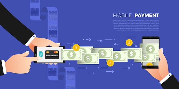 フラットなデザインコンセプトの支払い。支払い方法とオプションまたは送金するチャネル。説明する。