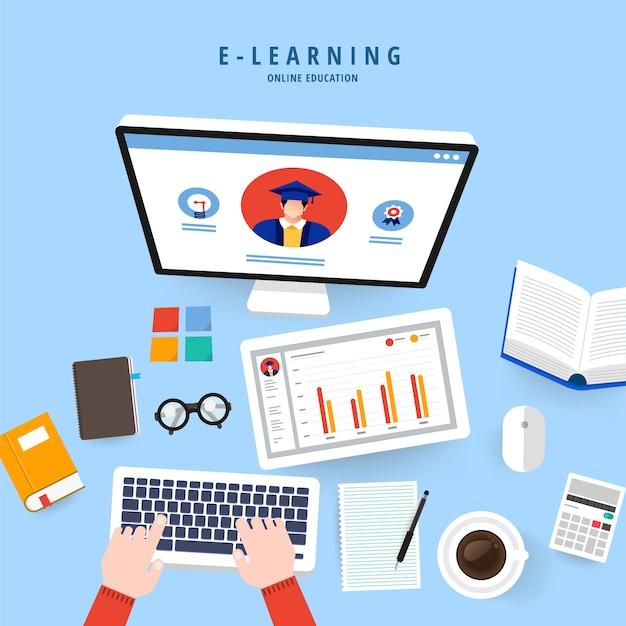 フラットデザインコンセプトの人々はeラーニングプログラムでオンライン知識を教育します
