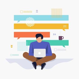Плоский дизайн концепции люди, работающие с компьютерным ноутбуком