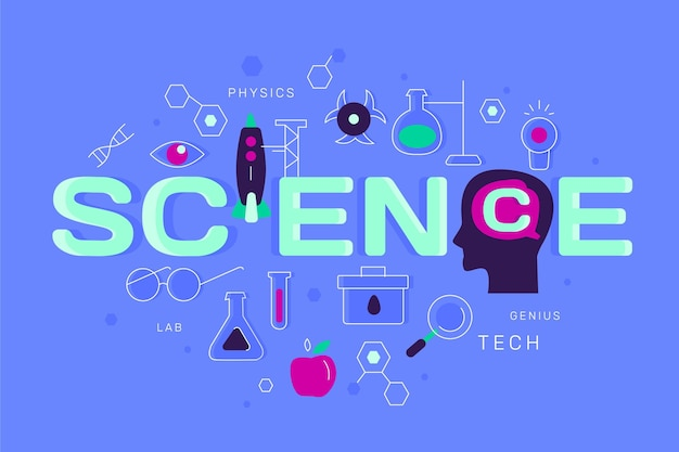 Flat design concept science word
