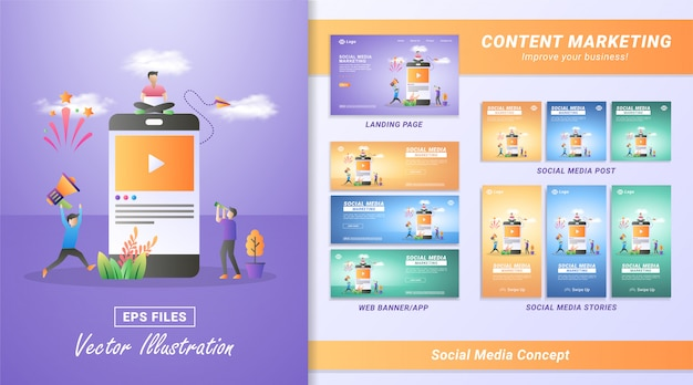 Flat design concept of social media marketing. digital marketing, refer a friend on social media, sharing or writing comments.