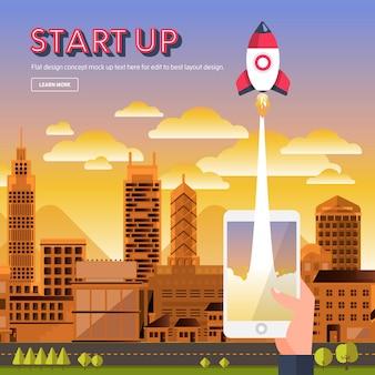 Flat design concept startup