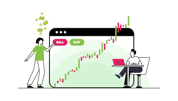 フラットなデザインコンセプトの株式交換とトレーダーグラフチャート分析による金融市場ビジネス