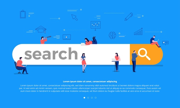 Flat design concept team building search bar for best result ranking page