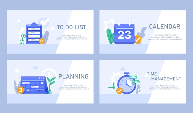 Flat design concept for time management, targeting, work planning and timing,creating training plan concept icon. task list and deadlines
