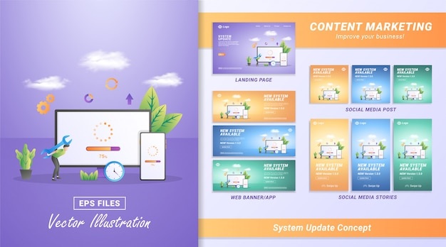 Flat design concept of updating system. the process of upgrading to system update, replacing newer versions and installing programs.