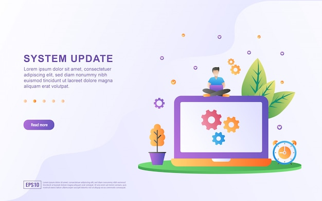 Flat design concept of updating system.