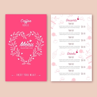 Flat design concept for valentines day menu