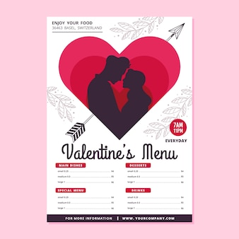 Flat design concept for valentines day menu