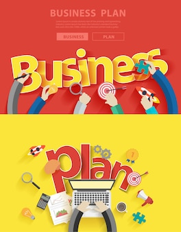 Flat design concepts for business plan analysis and planning