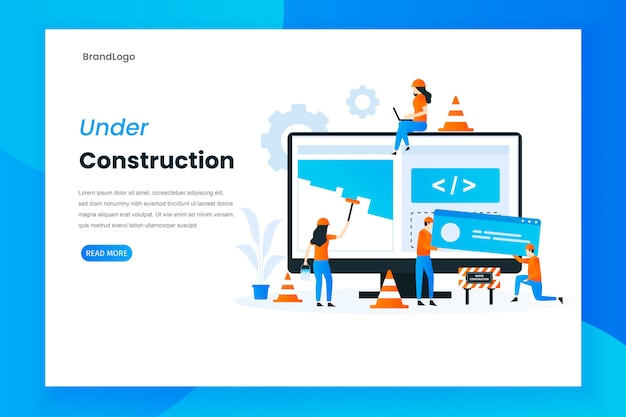 Flat design under construction landing page illustration