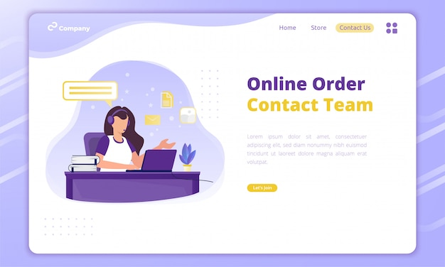 Flat design of contact team for online order business concept on landing page