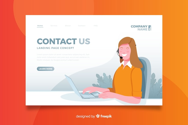 Flat design contact us concept landing page
