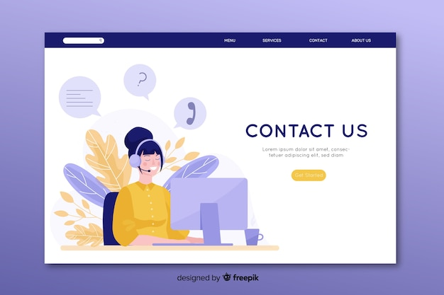 Flat design contact us landing page with operator at desk
