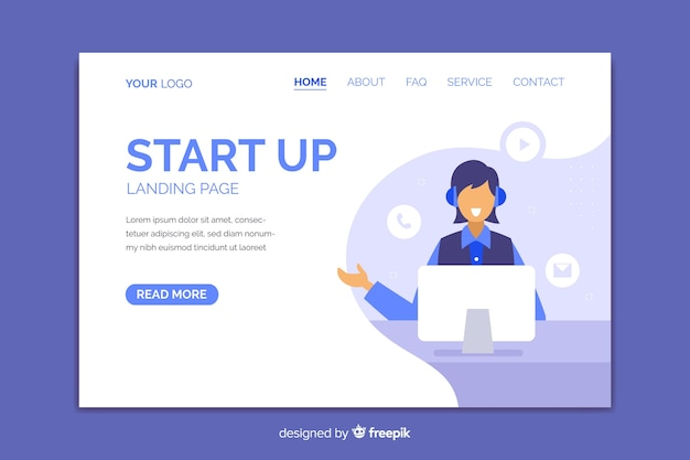 Flat design contact us landing page with smiling person