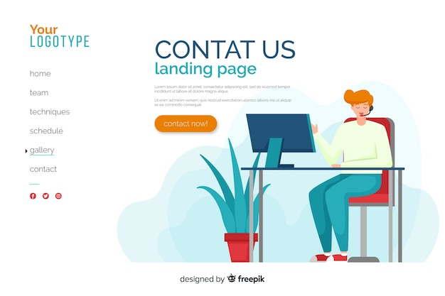 Flat design contact us landing page