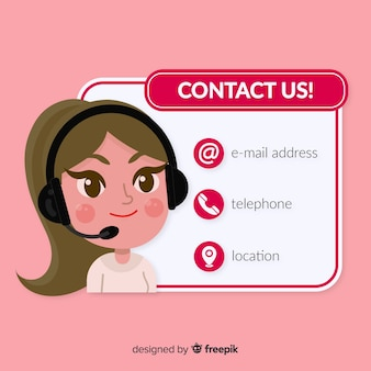 Flat design contact us template