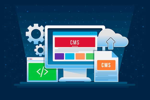 Концепция системы управления контентом в плоском дизайне
