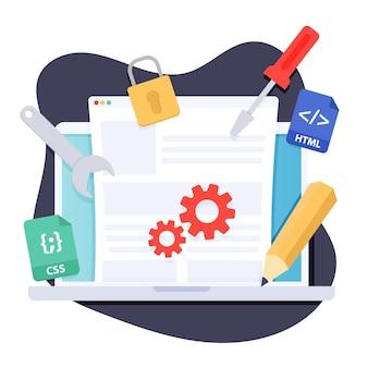 Sistema di gestione dei contenuti di design piatto illustrato