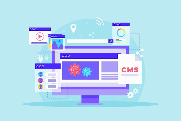 Flat design content management system illustration