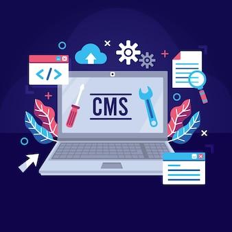 Illustrazione del sistema di gestione dei contenuti design piatto